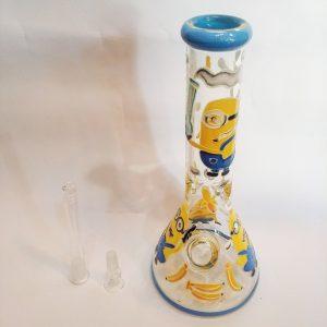 """באנג זכוכית (מקטרת מים) מיניונים עם ראש נשלף 14 מ""""מ + ראש נוסף מתנה"""