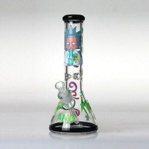 """באנג זכוכית (מקטרת מים) ריק ומורטי עם ראש נשלף 14 מ""""מ + ראש נוסף מתנה"""
