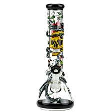 """באנג זכוכית (מקטרת מים) גולגולת עם ראש נשלף 14 מ""""מ + ראש נוסף מתנה"""