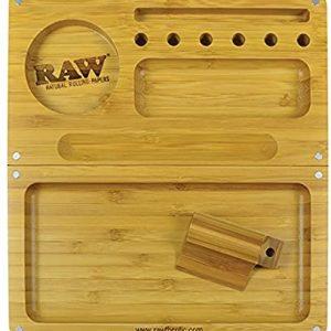 מגש RAW מעץ – BACKFLIP ROLLING TRAY – שני חלקים + שלוש ניירות גלגול RAW KS בלי פילטר
