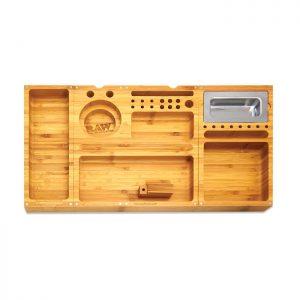 מגש RAW מעץ – TRIPLE FLIP ROLLING TRAY + שלוש ניירות גלגול RAW KS בלי פילטר