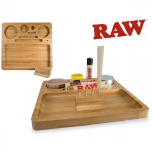 מגש RAW מעץ – BAMBOO ROLLING TRAY – חלק אחד + שלוש ניירות גלגול RAW KS בלי פילטר
